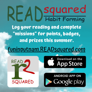 Log your reading and complete missions for points and prizes on funinputnam.readsquared.com